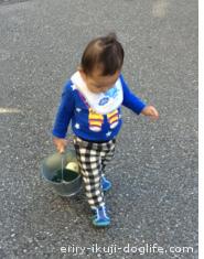 公園へえっさえっさと力強く歩く息子