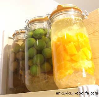 梅酒と梅ジュース、オレンジリキュール 3つ並ぶとちょっとおしゃれな感じです